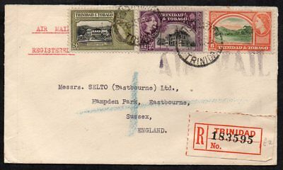 Trinidad & Tobago - 1955 Registered Airmail Cover to England