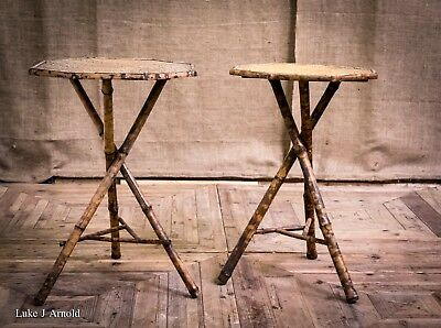 Antique Late 19th Early 20th Century Pair of Bamboo Occasional Side Lamp Tables