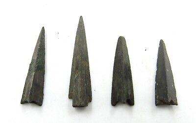 Authentic Lot Of 4 Ancient Scythian Bronze Arrow Heads - G743