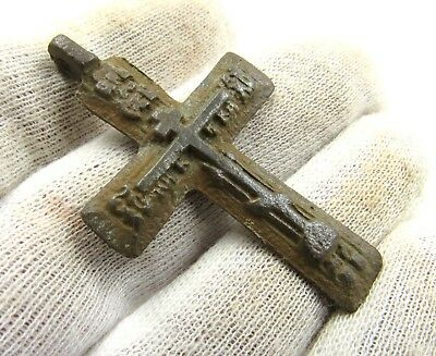 Authentic Late Medieval Bronze Cross Pendant - Wearable - G756