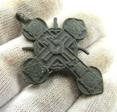 Authentic Late Medieval Bronze Radiate Cross Pendant - Wearable - G760