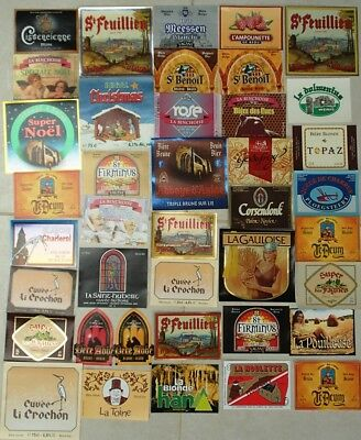 Lot de 40 étiquettes de bière neuves, 40 unused beer labels