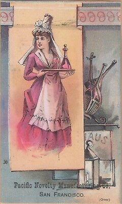 Victorian Trade Card-Pacific Novelty Co-San Francisco, CA-Woman Serving Drinks