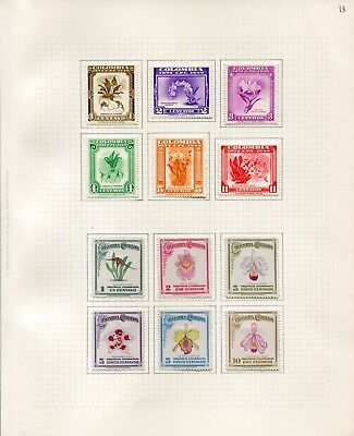 Weeda Colombia #546/717, C360-C370 F/VF MH 1947-60 Flora and Orchids CV $24.10