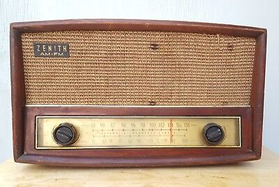 Zenith G730 Curved Top Wood Cabinet AM/FM Long Distance Tube Radio - Sounds Nice