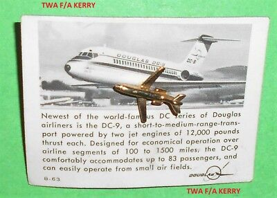 1963 Ozark Airlines Metal Douglas Dc 9 Airplane On Card Aviation Hat Lapel Pin
