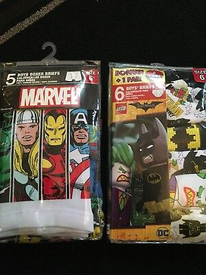 Marvel Lego Batman Boys Lot Of 5 Boxer Brief And 6 Reg Briefs Size 6