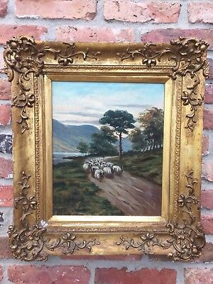 Fine 19thC Antique Oil Painting Alfred Morris 1853-96 Highland Sheep Lake Signed