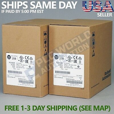 2018 New Factory Sealed Allen Bradley 25B-E3P0N104 Ser A Powerflex 525 Ac Drive