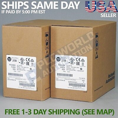 2019 New Factory Sealed Allen Bradley 25B-E3P0N104 Ser A Powerflex 525 Ac Drive