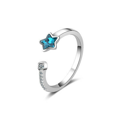 Ladies Cute Fashion Solid 925 Sterling Silver Blue AAA CZ Star Band Ring Size O