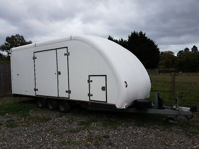 Woodford covered car trailer tilt bed tri axle enclosed race trailer