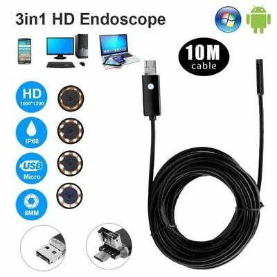 10M 6LED Micro USB Endoskop Borescope 8mm Inspektion Kamera für Android PC DHL