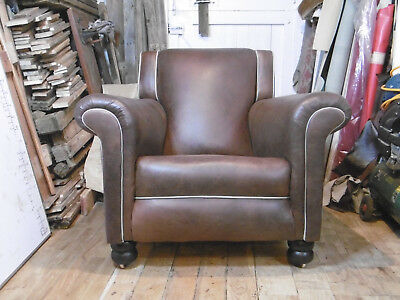 Big 1930's  Art Deco Club Chair. In Dark Brown Leather. Newly restored.