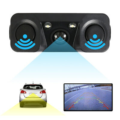 3 in1 170° Car Visual Reversing Rear View Camera Backup Parking Sensor Buzzer UK