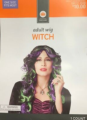Womens Adult Halloween Costume Wig Witch Black with Green Purple Streaks