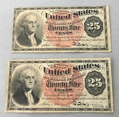 TWO (2) 25c FOURTH ISSUE Fractional Currency - Red Seal - Issued 1869-1875