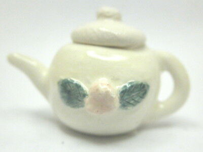 Dollhouse miniature artist hand painted ceramic teapot - white with rose
