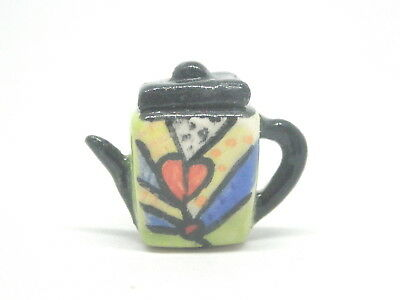 Dollhouse miniature artist hand painted colorful  ceramic teapot