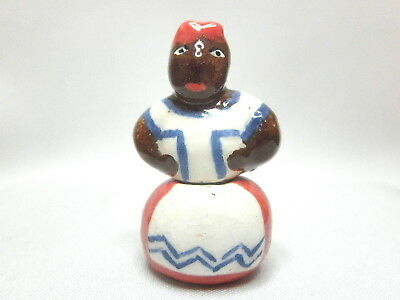 Dollhouse Miniature cookie jar hand made ceramic after Brayton Mammy - red/blue