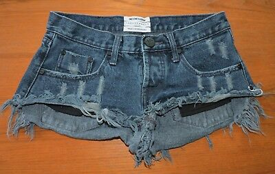 Free People One X One Teaspoon Bonitas Shorts Size 24 Dark Blue Frayed Hem