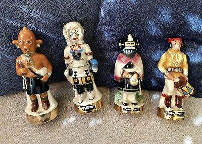 4 Ezra Brooks Bundle!!!  Hopi Native American Kachina Bottle Decanters 24K 1970s