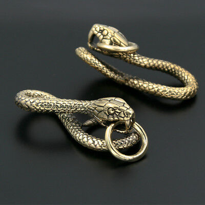 Vintage Solid Brass Zodiac Snake Keychains Key Ring Pendant Belt Hook Black Knot