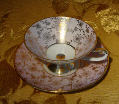Eberthal Bavaria Footed Cup & Saucer Set Floral Gold Pink Made In Germany