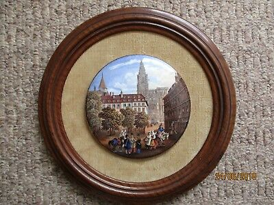 Antique Prattware pot lid mounted on mahogany frame - Victorian scene or earlier