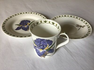 CHINA TRIO SET Pretty Queen's BLUE IRIS Coffee Cup & Saucer & Side Plate Set (b)