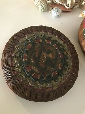 Vintage Wicker Hand Woven Basket Victorian Sewing  Box Ornate Design on Lid Rare