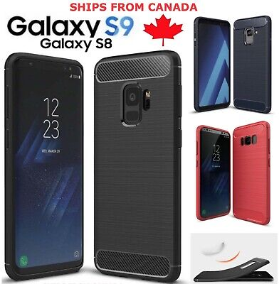 For Samsung Galaxy S9 S8 / Plus Case Carbon Fibre Soft Cover Screen Protector