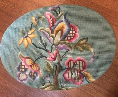 Vintage Style Needlepoint Cross Stitch Small Foot Stool Flowers Butterfly
