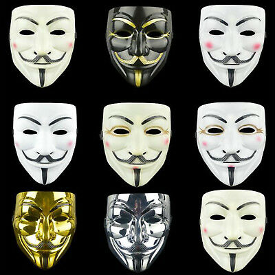 Anonymous Hacker Vendetta Guy Face Mask Adults Halloween Fancy Party Costume New
