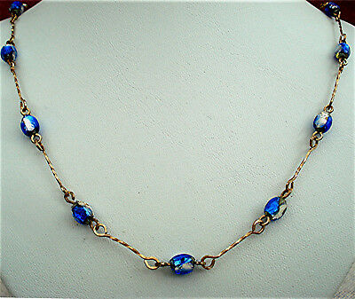 ART DECO NECKLACE BICOLOUR FOIL BEAD Rolled Gold Wire with a twist VINTAGE 1930s