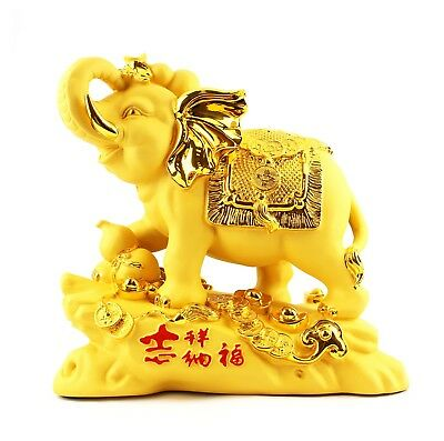 """12"""" Feng Shui Chinese Gold Nugget Lucky Wealth Elephant Figurines Statue 招财纳福"""