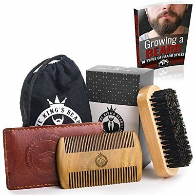Beard Brush and Comb Set for Men Care by The King's Beard - Gift Box
