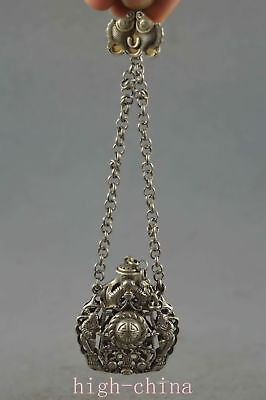 Collectable Chinese Ancient Miao Silver Carve Hollow out Bat Snuff Bottle Gift