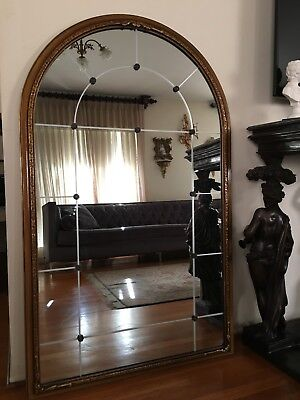 French Antique Hand Carved Wood Oval Arch Top Wall Mirror