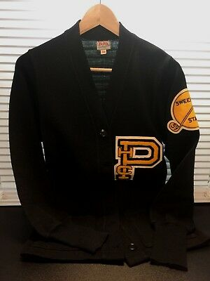 Vintage Black with Gold/White Trim 1959 High School Band or Choir Letter Sweater