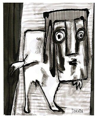 BACKSTAGE original abstract/folk/outsider? ink painting/drawing Swinton Canadian