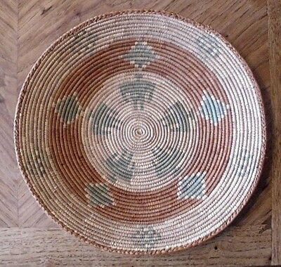 Vintage Pakistan Hand Woven Kuchi Tribal Basket(13 Inches Diam.)