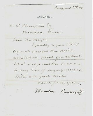 Teddy Roosevelt Signed Letter with Envelope!!     1918