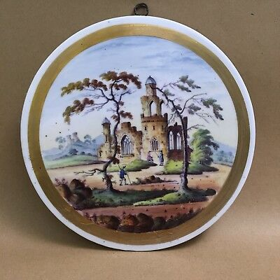 Vintage Pot Lid / Plaque - Country Castle Scene - Prattware? - 20.5cm