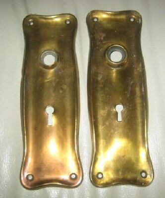 Pair of Vintage/Antique Brass Door Knob Plates w/Keyholes
