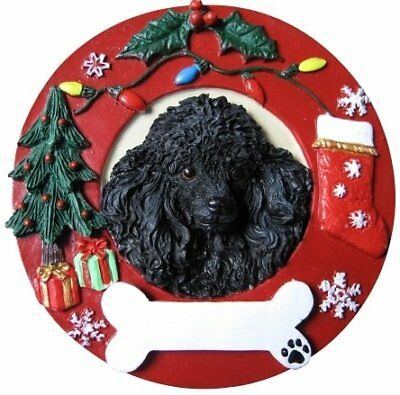 Black Poodle Ornament Personalized and Hand Painted 3.75 Inches Diameter