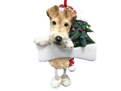 "Wire Fox Terrier Ornament ""Dangling Legs"" Hand Painted and Easily Personalized"