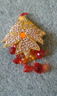 unique hand made embellished charm red and yellow 9cm drop jewelry