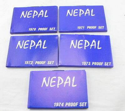 Lot Of 5 Nepal 7-Coin Proof Sets 1970-1974 Original Cases/holders- Nr #2814