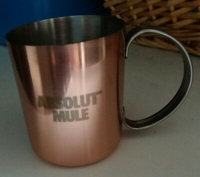 "New Absolut Moscow Mule Mug Copper Plated Stainless Steel 3.5"" 13 oz Cup"